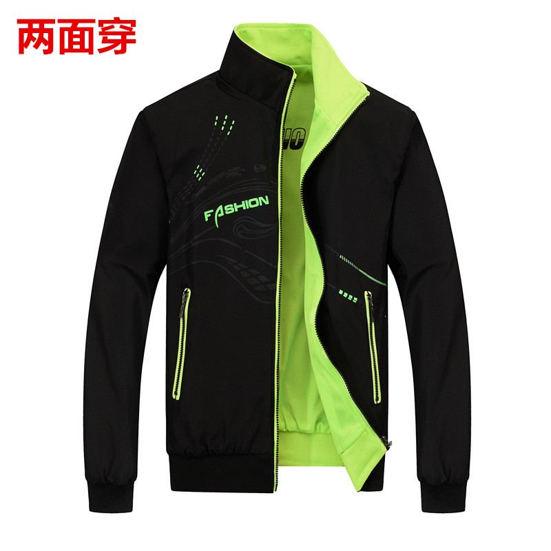 Autumn mens large size coat double side sports jacket youth breathable top trend mens thin work clothes