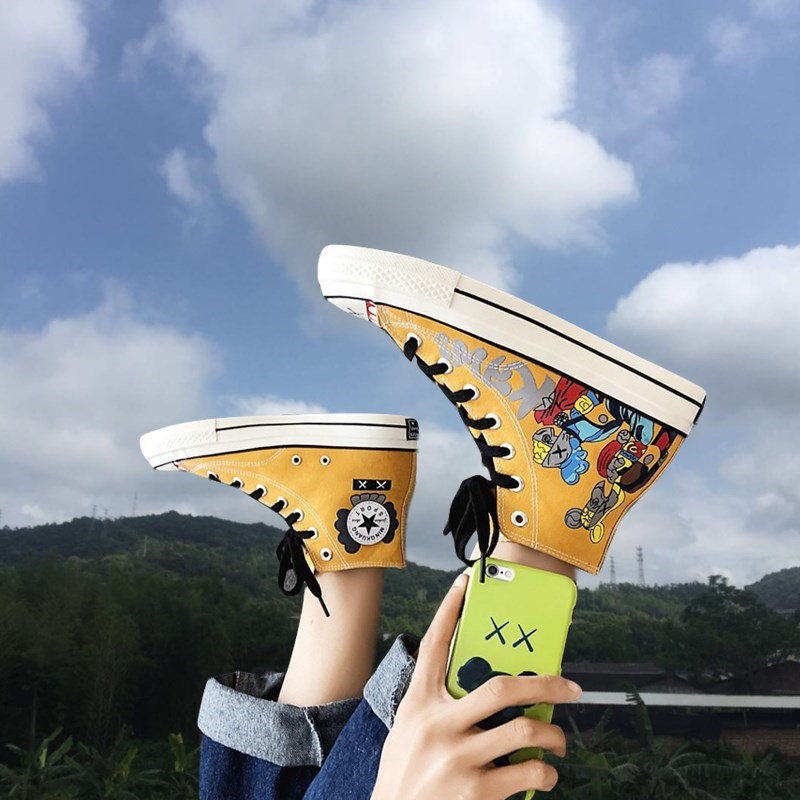 Japanese graffiti canvas shoes mens summer high top fashion Sesame Street cartoon fun Printing Co branded breathable couple student shoes
