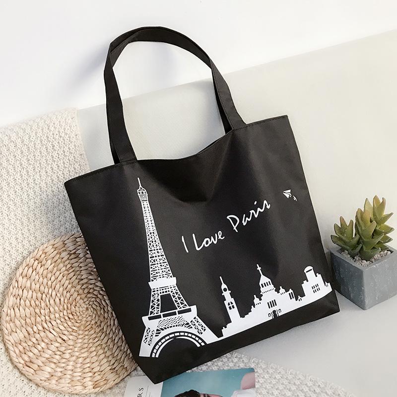 Korean casual Canvas Shoulder Bag Handbag simple and versatile cat large capacity pocket travel student