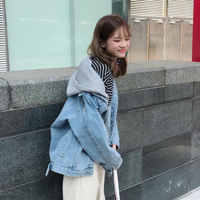 Denim Jacket Womens 2020 new autumn Korean loose detachable hooded long sleeved jacket tooling top