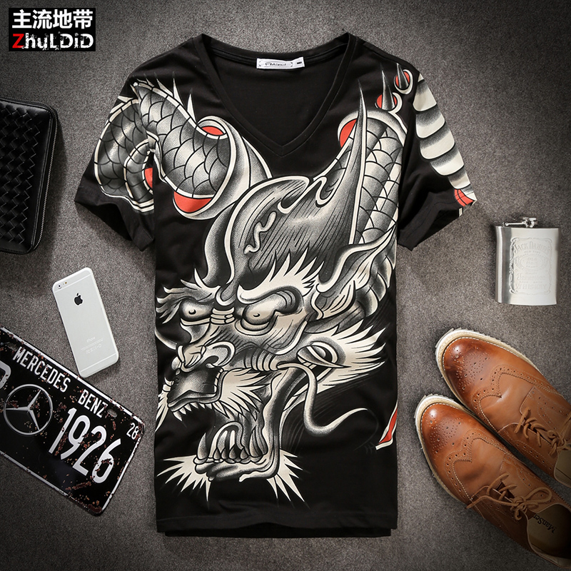 Summer Chinoiserie mens fashion printed pattern short sleeve t-shirt mens social youth trend half sleeve