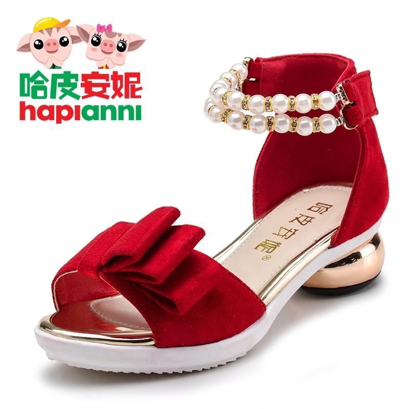 哈皮安妮女童公主儿童凉鞋高跟韩版夏季中大童鱼嘴蝴蝶结学生童鞋