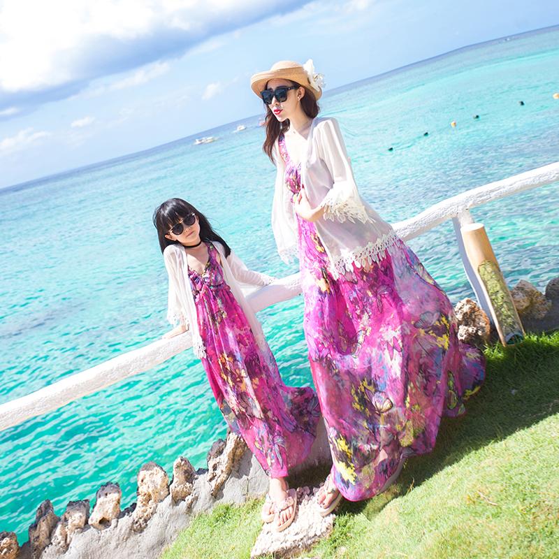 海边度假防晒衫亲子装母女装夏泰国波西米亚2019女童中长款白开衫