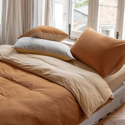 A类全棉天竺棉四件套裸睡简约超柔纯棉针织棉被套床单床上用品1.8