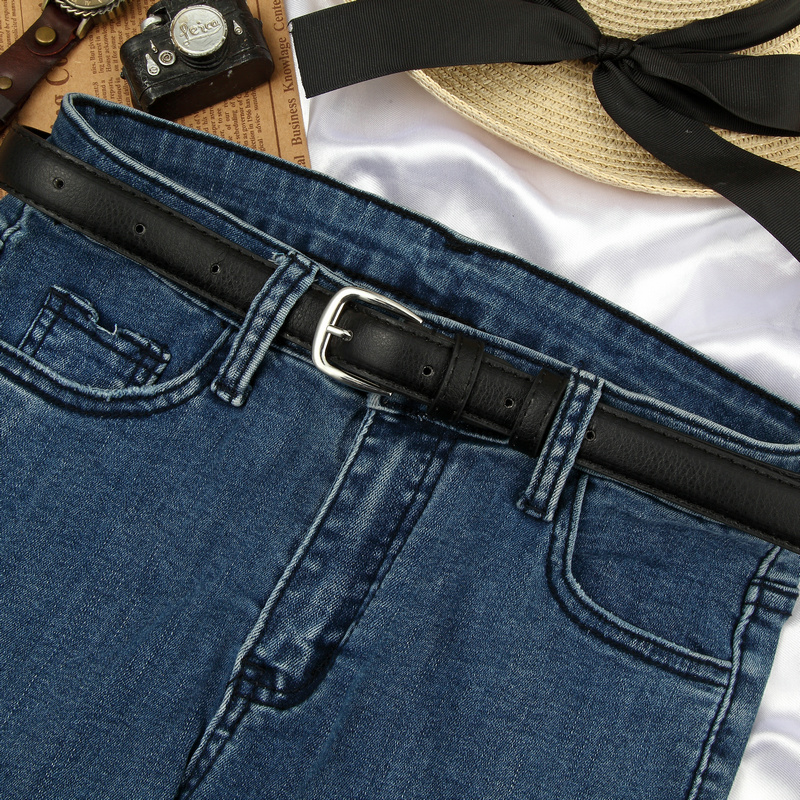 Belt women fashion simple versatile black thin pants belt Korean students decorative retro jeans with Korean version