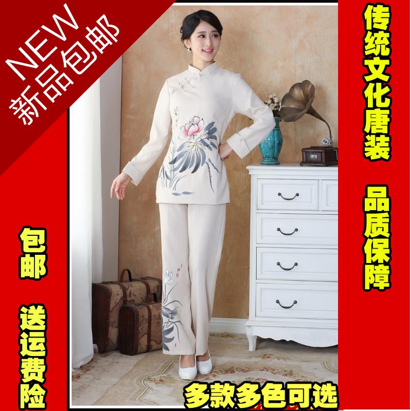新款国学风女装春季棉麻唐装传统文化中式居士服改良汉服套装秋装