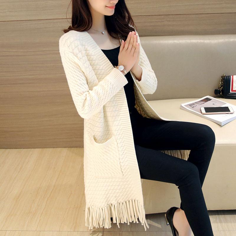 T-shirt womens cardigan mid long hem tassel autumn dress 2019 new Korean solid loose coat fashion