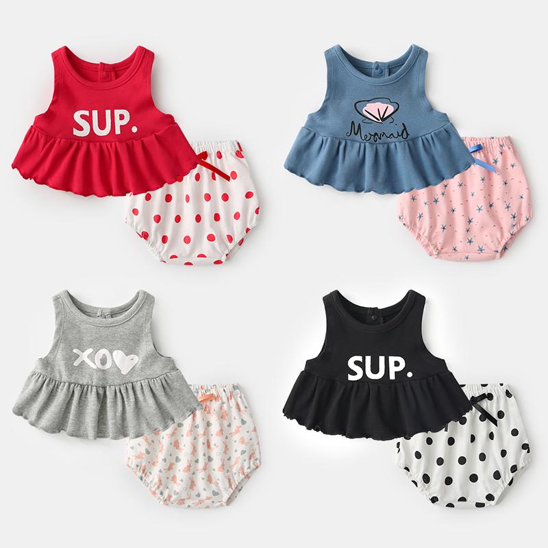 女宝宝洋气套装夏季0岁3个月婴儿两件套背心夏装新生儿衣服纯棉夏