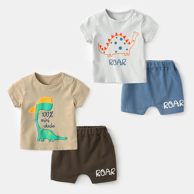 新生儿夏季衣服纯棉薄款婴儿套装男0-3个月女宝宝夏装两件套短袖