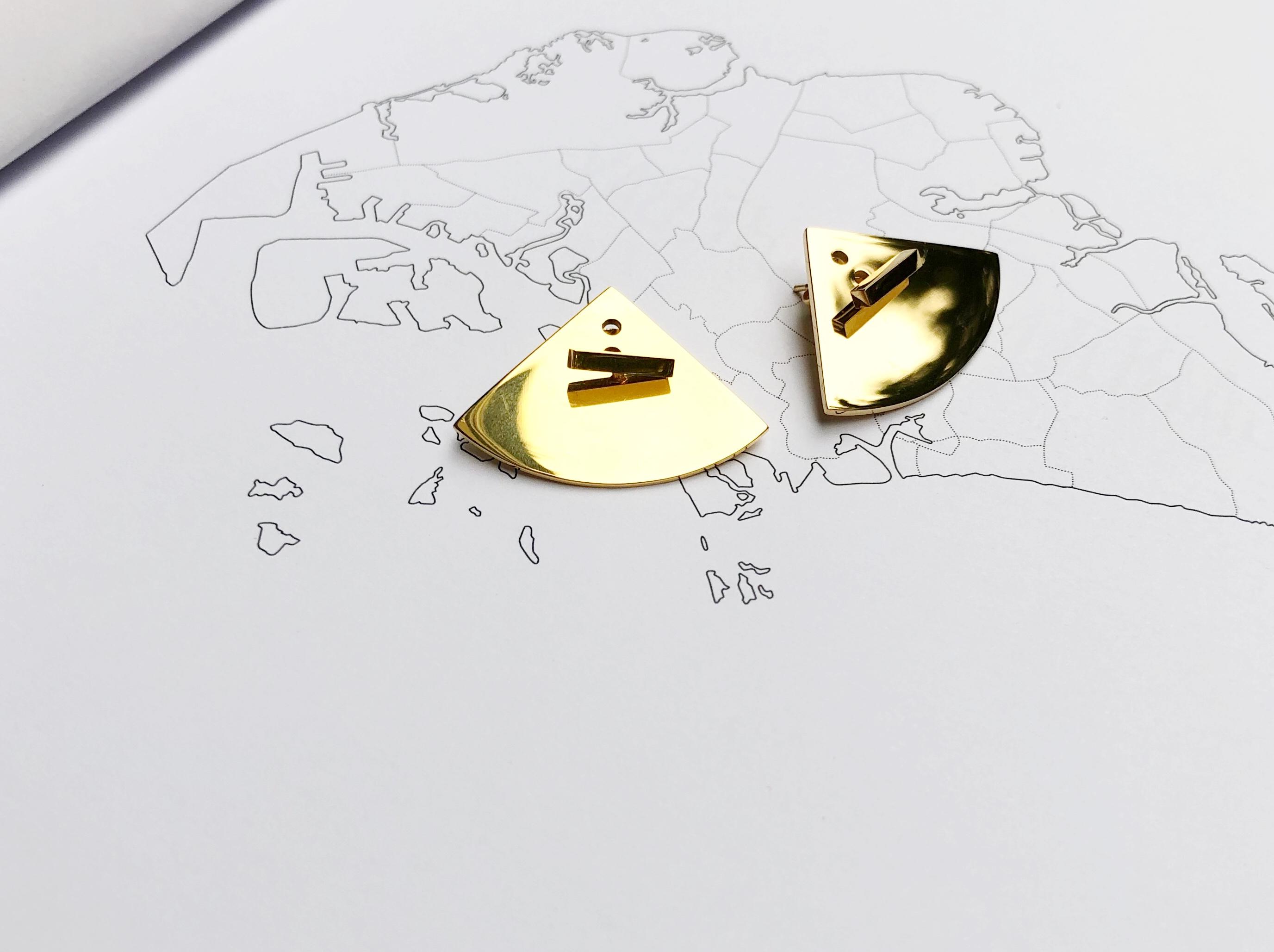 Jane studio creative design interesting soul ear jack combination Earring t-pin + fan