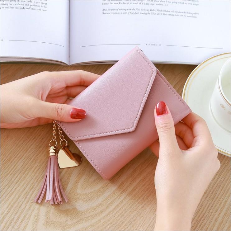 新款时尚短款日韩版可爱流苏小钱包