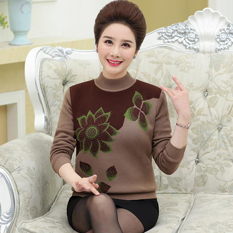 中老年妈妈装新款休闲打底衫40岁50毛衣女针织衫秋冬女装宽松上衣