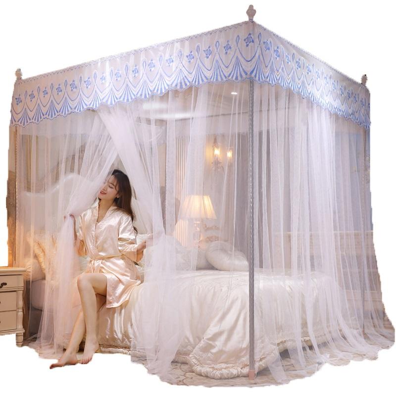 夏季欧式防蚊帐家用公主风1.5m床1.8支架2米1.2双层加密纹账拆洗