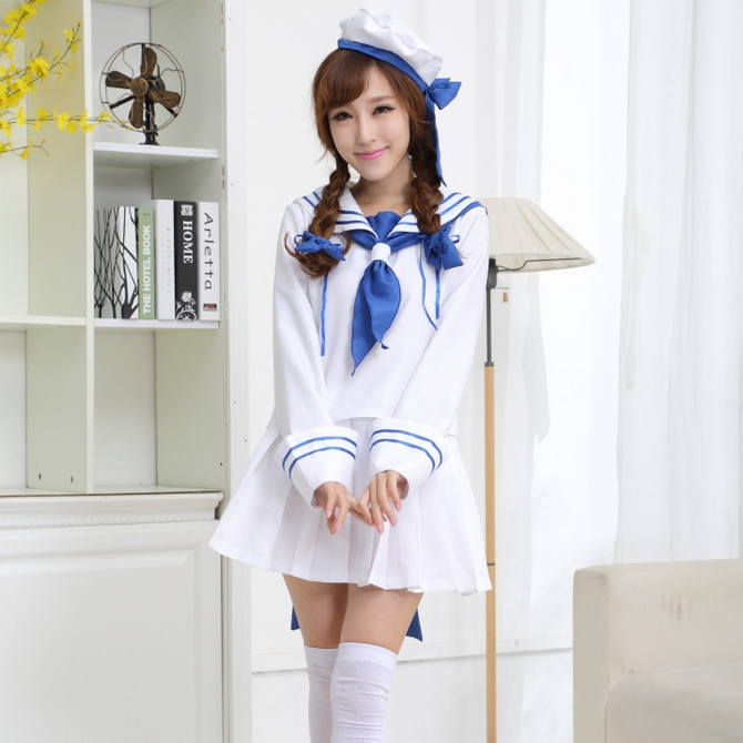 Cosplay Navy role play white Long Sleeve navy sailor uniform nightclub DS performance Costume