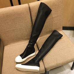 王子文同款ro弹力靴长靴子女冬季显瘦腿过膝靴皮靴平底运动长筒靴