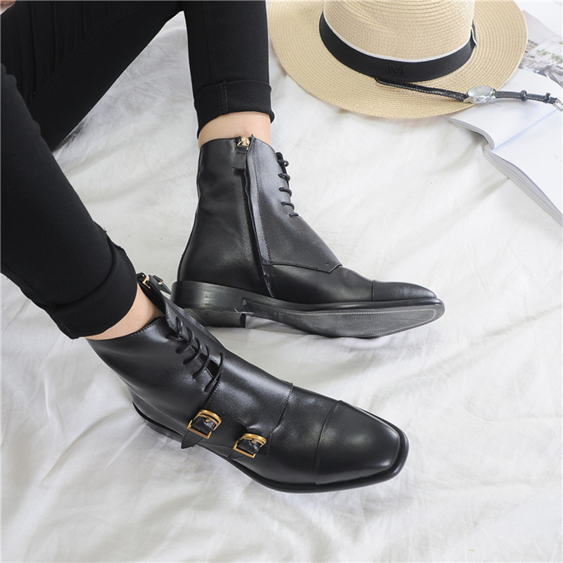 Cool and handsome belt buckle short boots side zipper flat heel lace flow square head womens boots in Europe and America autumn and winter 2017