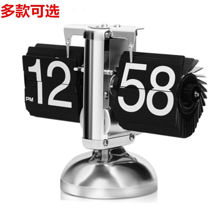 复古齿轮机械自动翻页钟表创意时尚个性客厅座钟桌面摆件台钟时钟 Изображение 1
