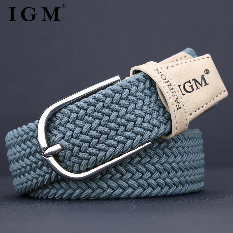 Mens canvas woven belt with elastic belt