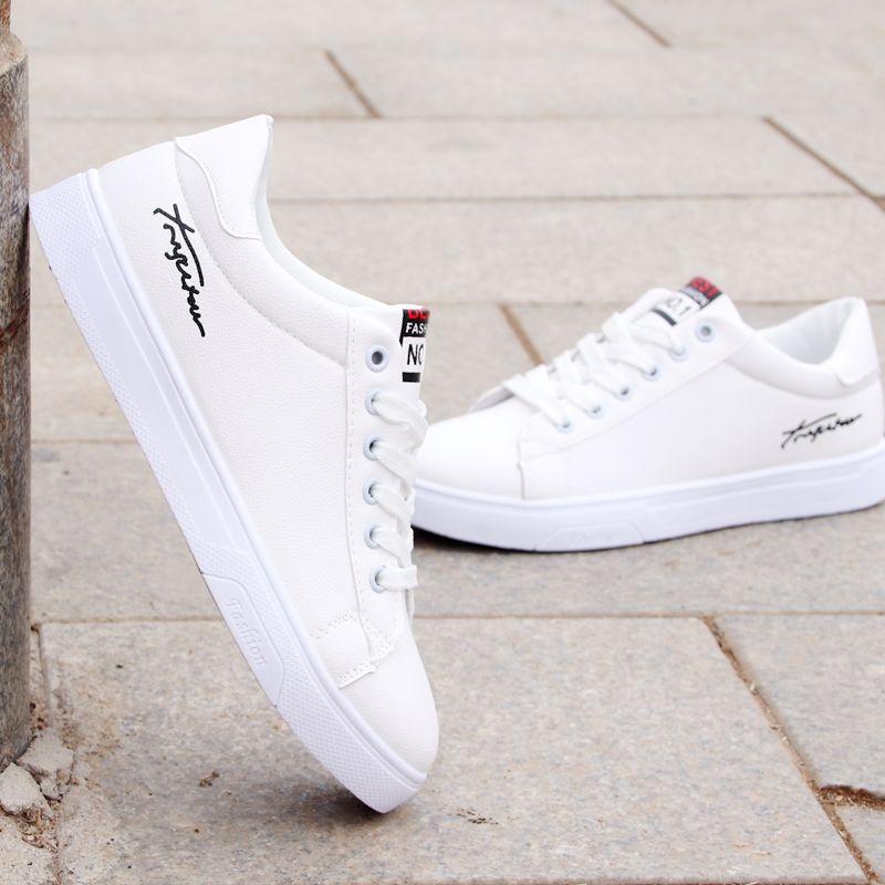 春秋季板鞋男小白鞋学生防滑防水运动休闲鞋韩版青年百搭白色鞋子