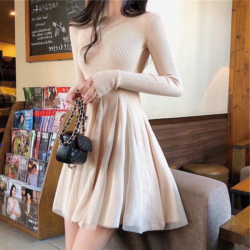 Autumn/winter 2020 new style plus velvet mesh stitching long-sleeved dress female solid color waist slim knit skirt ins