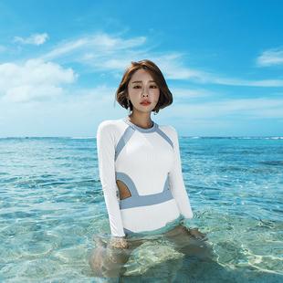 韓國新款長袖防曬沙灘潛水衝浪水母服遮肚顯瘦保守裙式連體泳衣女