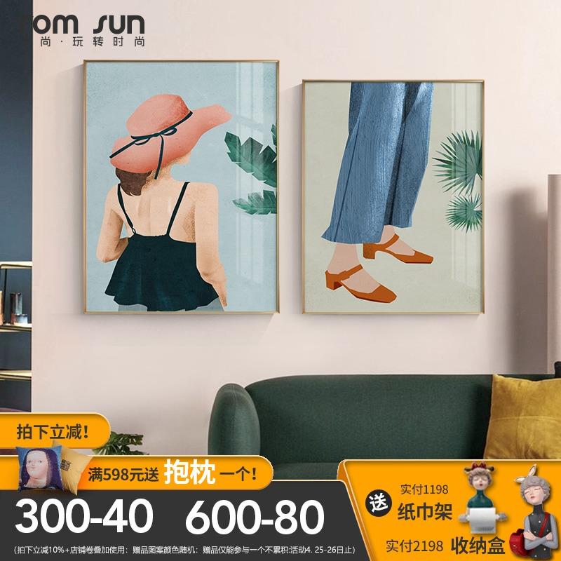 后现代人物简约沙发卧室客厅装饰画