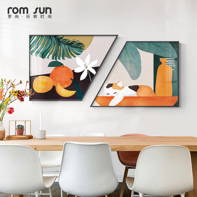 北欧ins风餐厅植物墙面现代挂画