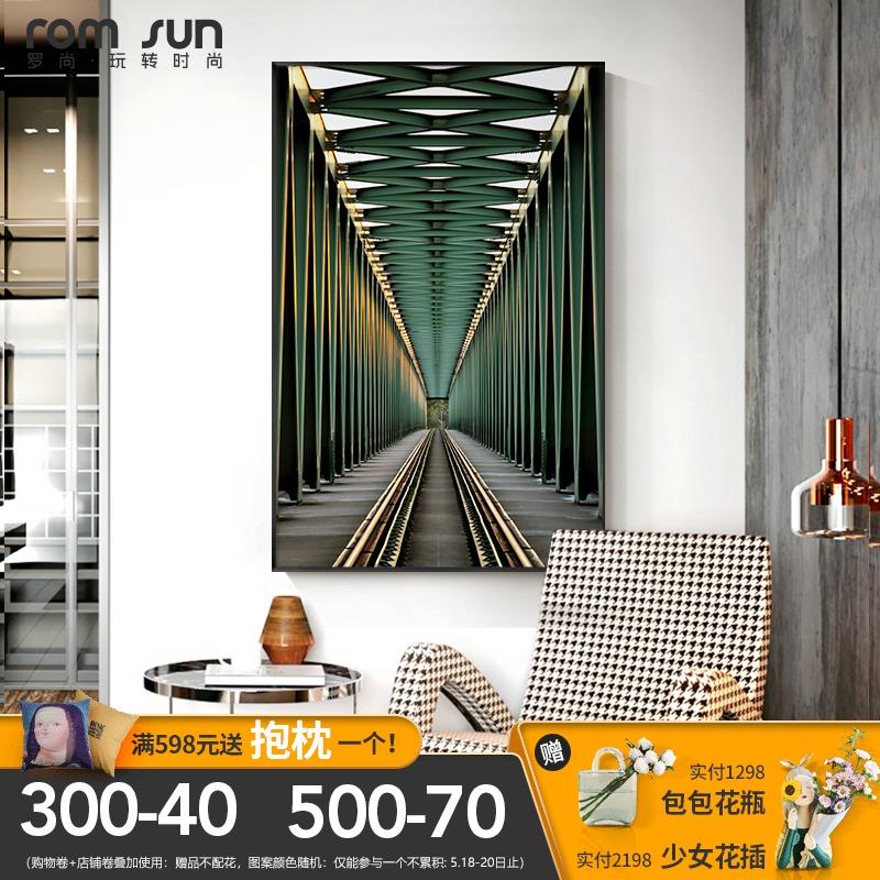 罗尚现代抽象玄关艺术空间延伸壁画