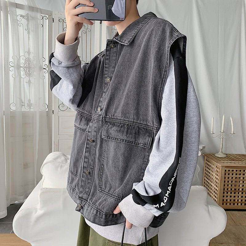 Denim coat mens loose Hong Kong Style autumn Korean version ins super fire leisure sleeveless tooling jacket mens Vest trend