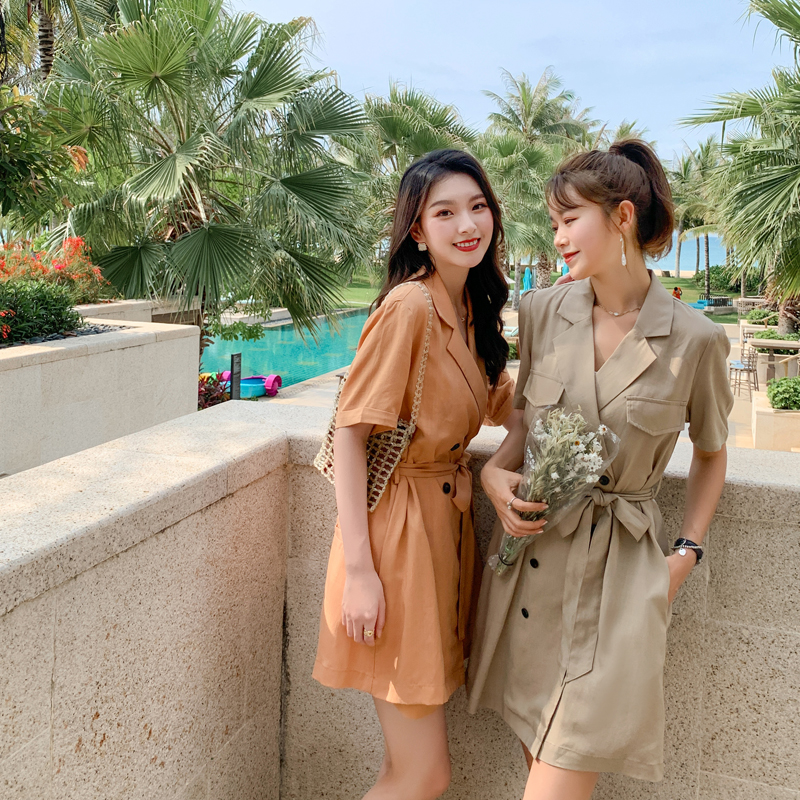 2020 new Tencel fabric Jumpsuit dress solid color slim skirt Korean fashion shorts summer trend