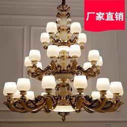 大气别墅挑空客厅复式楼中楼大吊灯 三层锌合金玉石三色变光LED灯