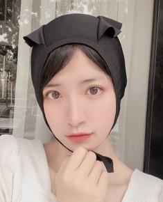 日系辫子少女纯黑白色系带泳帽萝莉舒适不勒头可爱长发加大游泳帽