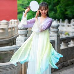 古典舞演出服女现代舞中国舞蹈身韵纱衣民族练功服装飘逸独舞淡雅