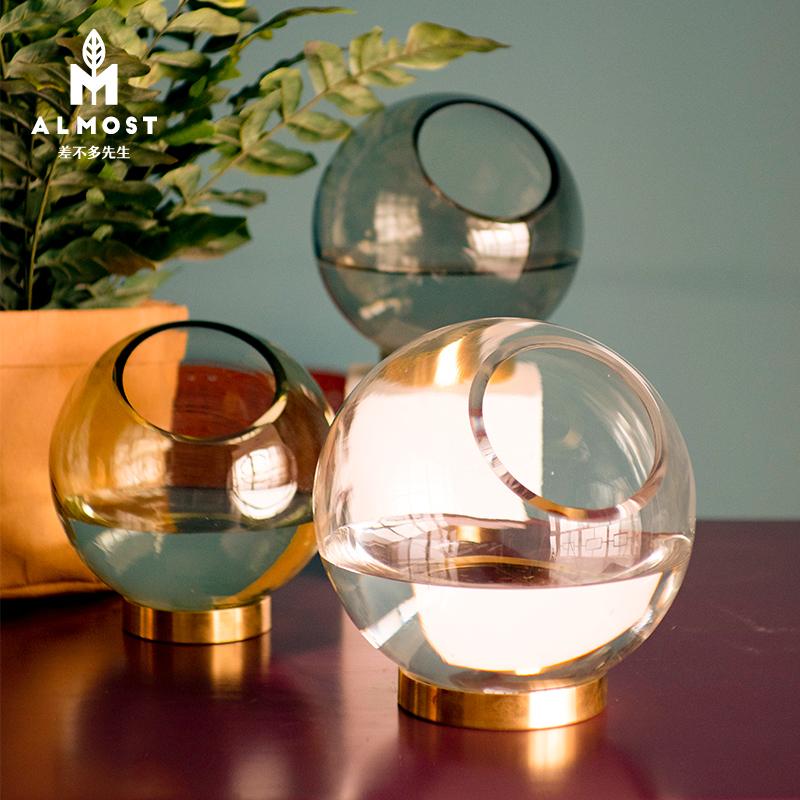 差不多先生 丹麦极简现代圆形玻璃花瓶北欧风格插花器设计师款