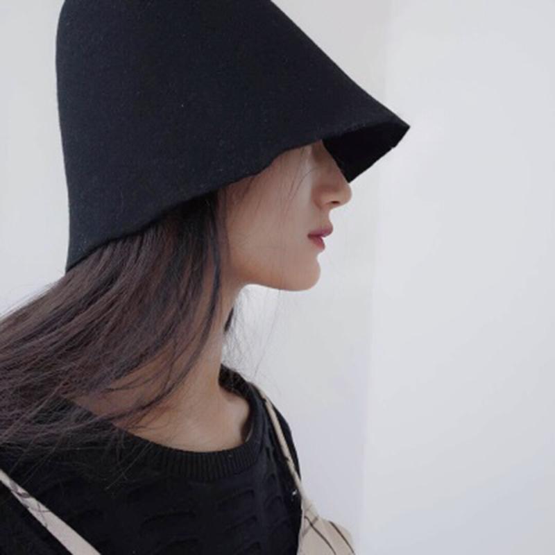 买三送一网红同款个性百搭钟形盆帽乞丐帽女韩版渔夫帽纯色羊毛呢黑色帽子