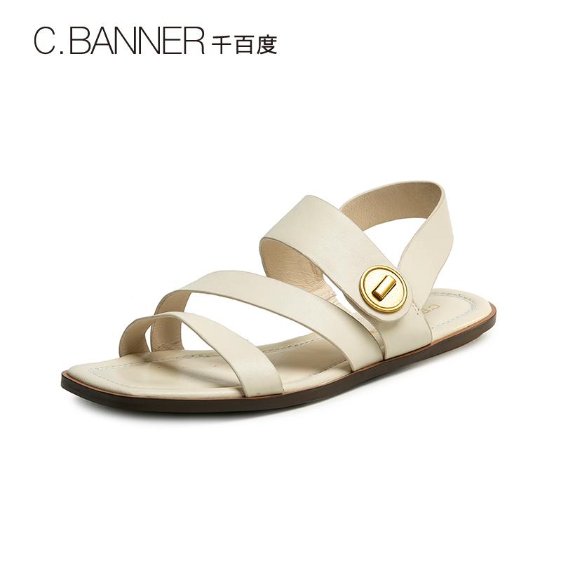 千百度女鞋2019夏季新品简约条带平底鞋度假风罗马凉鞋A9324505WX429.00元包邮