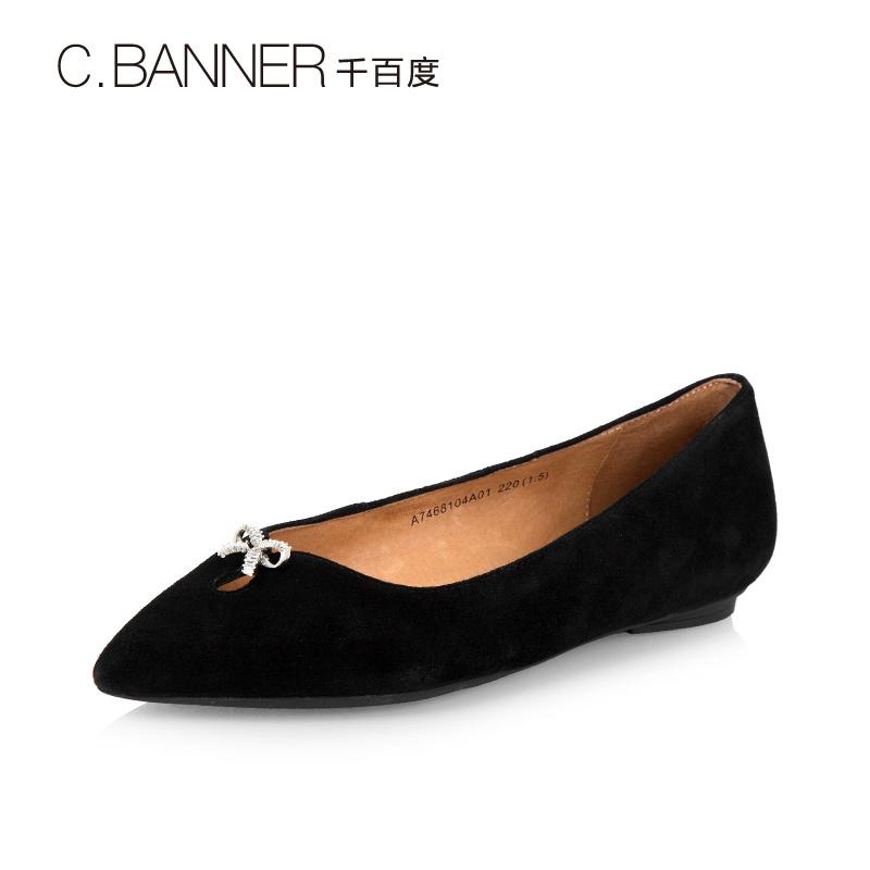 A7468104千百度春秋新品商场同款绒面蝴蝶结低跟女单鞋C.BANNER