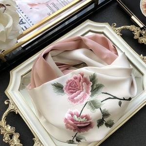 牡丹中国风苏绣双层女手工妈妈披肩