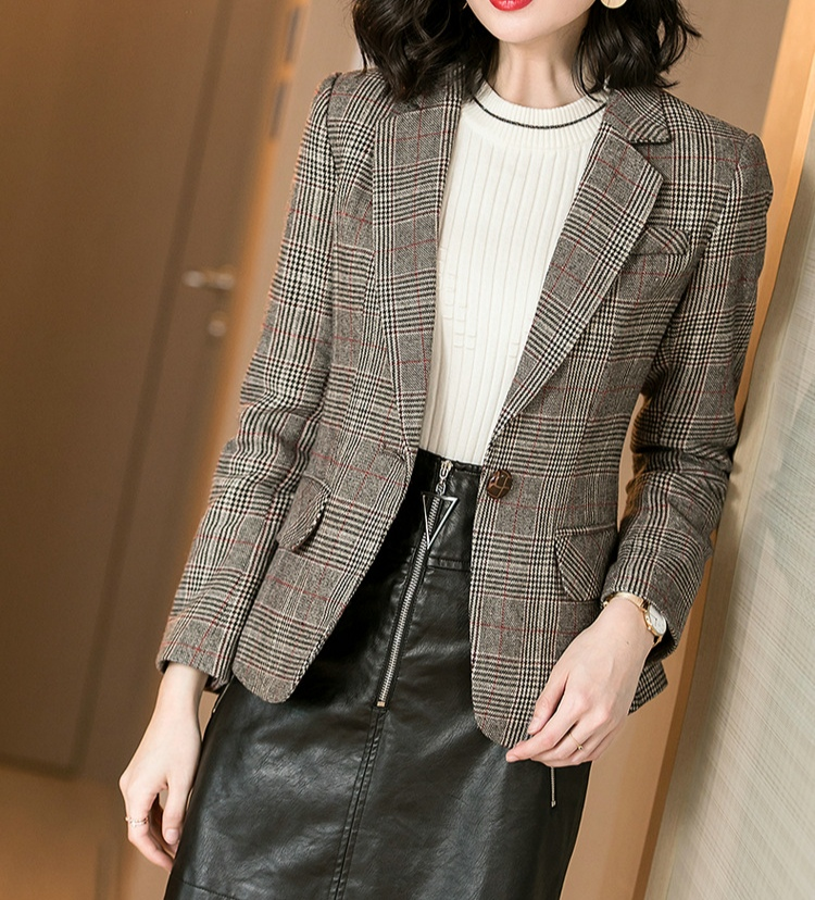 Woolen Plaid Blazer coat for womens new spring and autumn of 2019