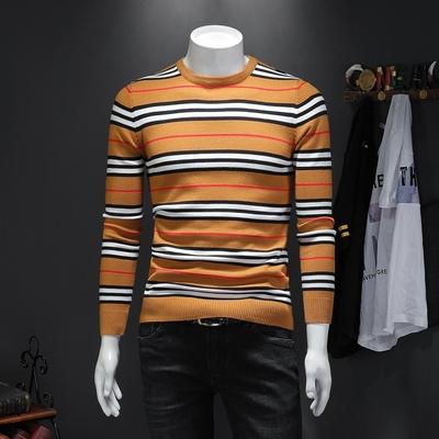 2019秋冬季新款长袖毛衣男潮流修身条纹针织衫 D322 96619 P105