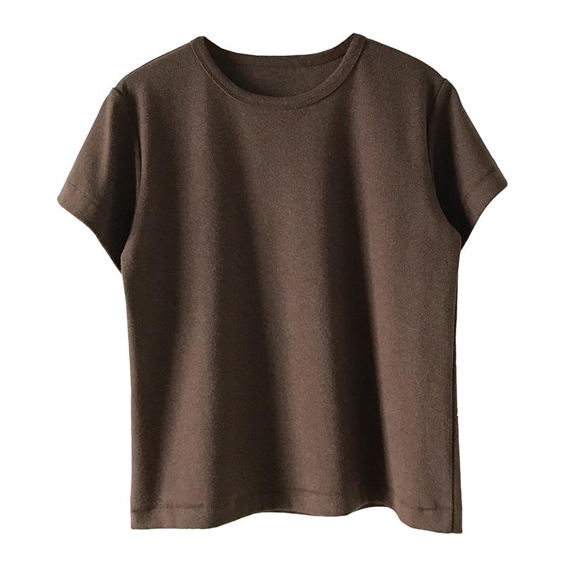 早春新款洋气奶咖色系加厚磨毛短袖T恤19女装纯色圆领打底衫内搭