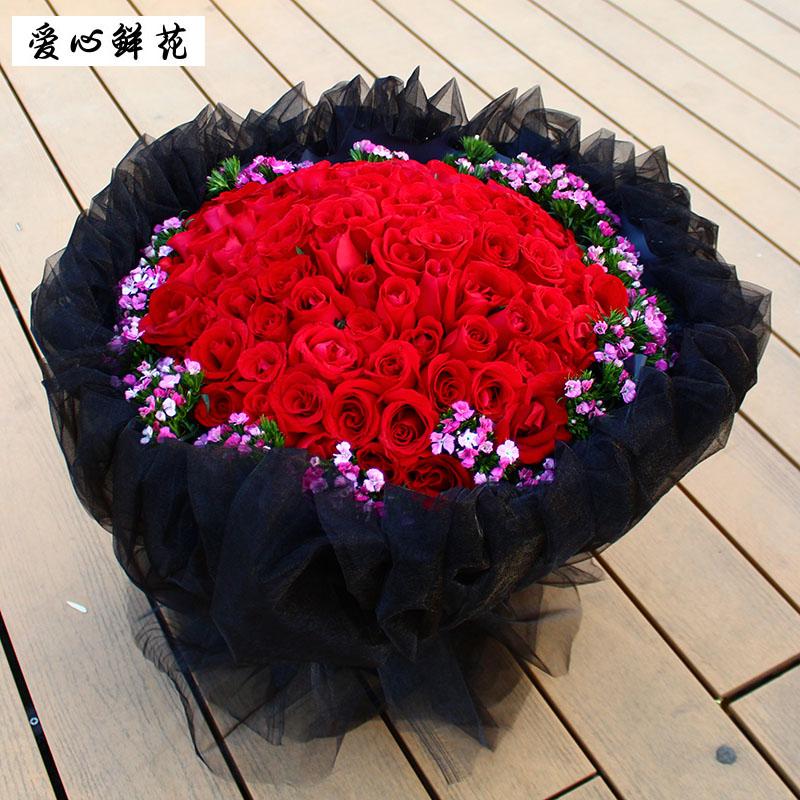 网红99朵玫瑰同城鲜花速递河北张家口承德邢台衡水店订真花送女友