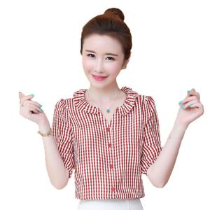 格子雪纺2021年夏季新款洋气衬衫