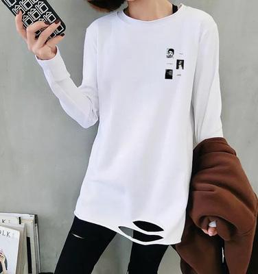 0176#t恤女装韩版长袖2019秋季新款宽松下摆破洞内搭中长款打底衫