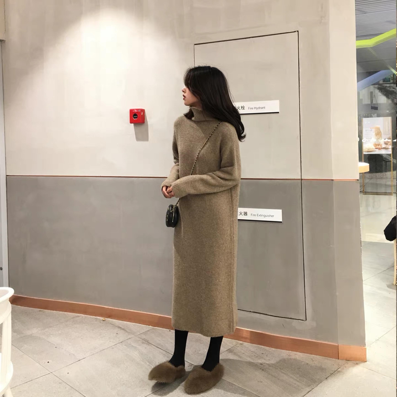 ANNA2018冬季新款百搭高领针织连衣裙宽松加厚毛衣裙裙子女装