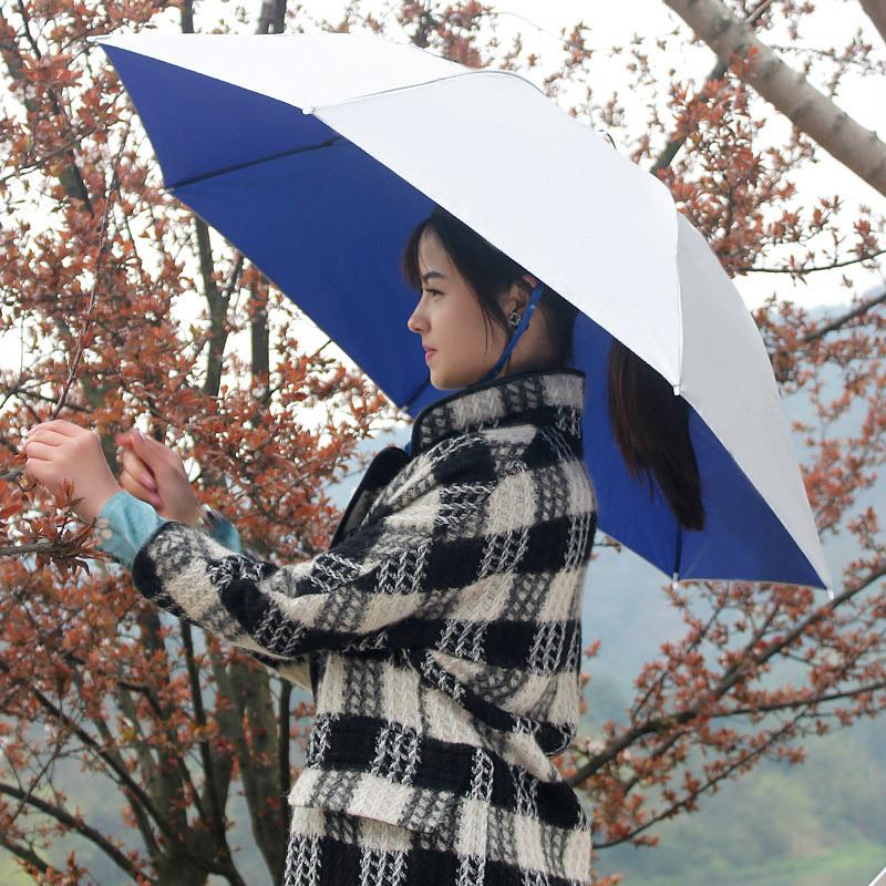 斗篷式便携式宝宝美观儿童雨帽子伞头顶帽伞头戴式蓝色套头伞冒