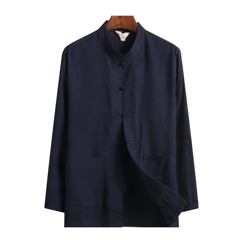 春夏季中老年棉麻唐装男士长袖亚麻衬衫中式汉服棉麻中国风爸爸装券后39.90元