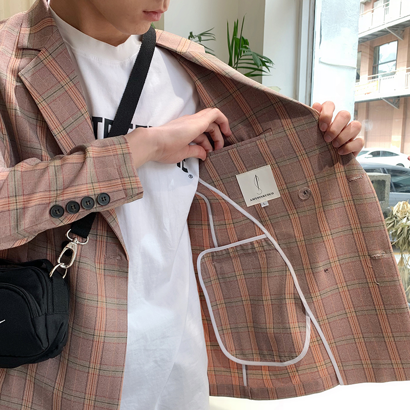 2021 spring new Plaid suit ins summer suit long sleeve loose double breasted coat mens fashion