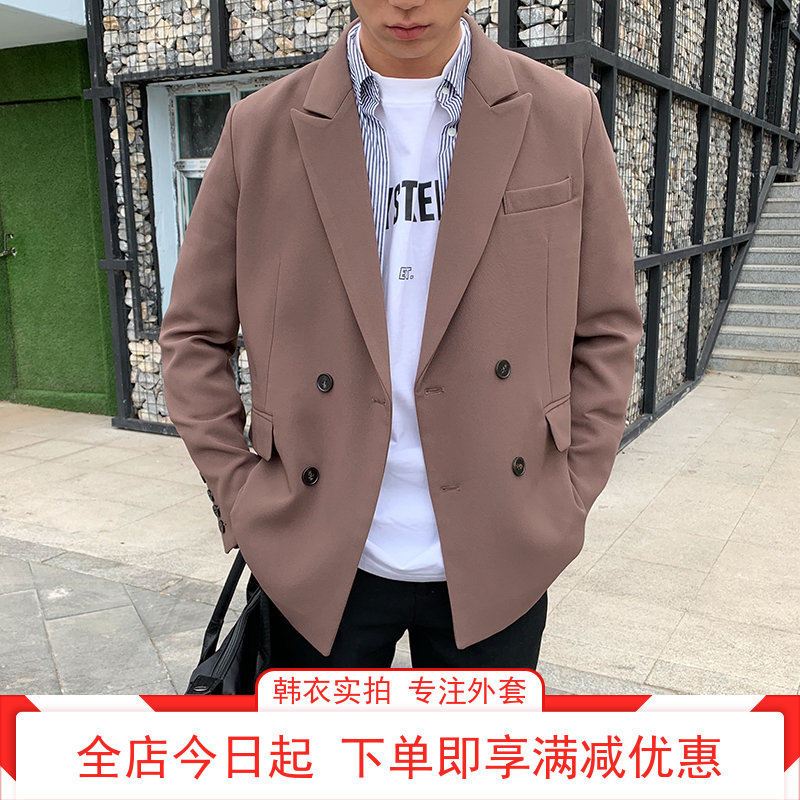 Models real photo Korean clothing new net red solid color suit loose Korean spring autumn coat casual mens early autumn suit