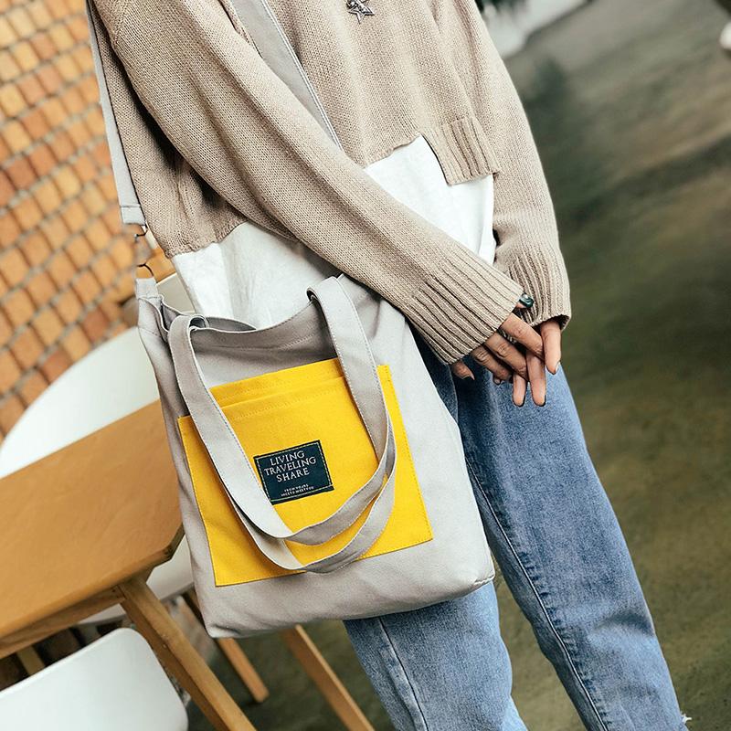 新款�nins百搭休�e布袋大容量可拆卸�渭缧笨�2用�物袋帆布包女包